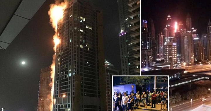Dubai's Torch Tower bursts into flames in echo of Grenfell | Daily Mail Online